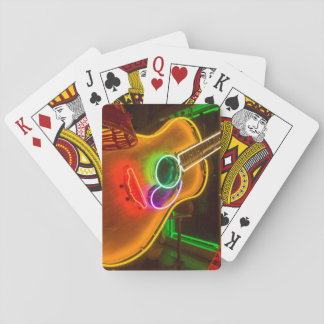 USA, Texas, Austin. Neon Guitar At Blackmail Playing Cards