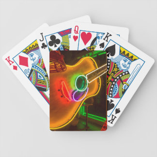USA, Texas, Austin. Neon Guitar At Blackmail Poker Deck