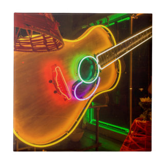 USA, Texas, Austin. Neon Guitar At Blackmail Small Square Tile