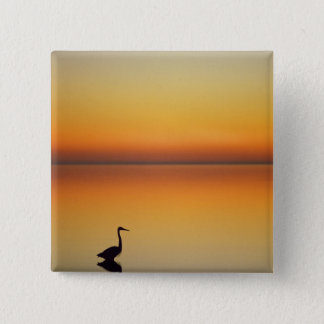 USA, Texas, Port Aransas, Great Blue Heron at 15 Cm Square Badge