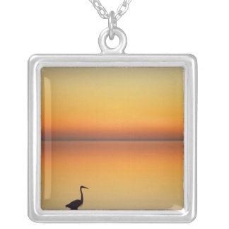 USA, Texas, Port Aransas, Great Blue Heron at Silver Plated Necklace