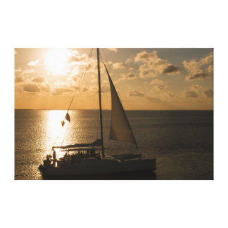 USA, Texas, South Padre Island. Sailboat Canvas Print
