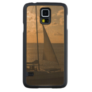 USA, Texas, South Padre Island. Sailboat Carved Maple Galaxy S5 Case