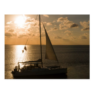 USA, Texas, South Padre Island. Sailboat Postcard