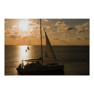 USA, Texas, South Padre Island. Sailboat Poster