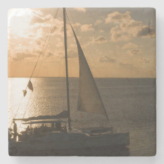 USA, Texas, South Padre Island. Sailboat Stone Beverage Coaster