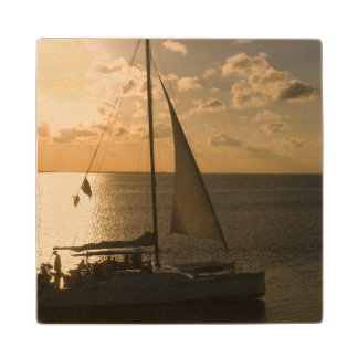 USA, Texas, South Padre Island. Sailboat Wood Coaster