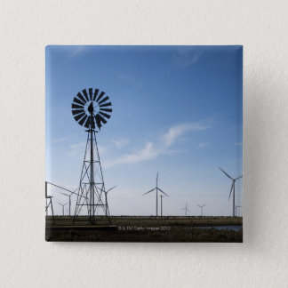 USA, Texas, Vega, Old ranch windmill and water 15 Cm Square Badge