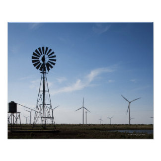 USA, Texas, Vega, Old ranch windmill and water Poster