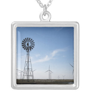 USA, Texas, Vega, Old ranch windmill and water Silver Plated Necklace