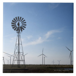 USA, Texas, Vega, Old ranch windmill and water Tile