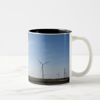 USA, Texas, Vega, Old ranch windmill and water Two-Tone Coffee Mug