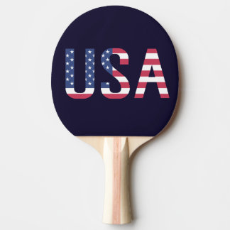 USA Text American Flag on Custom Navy Blue Sport Ping Pong Paddle