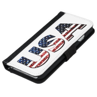 USA text flag blue and red glitters sparkles iPhone 6 Wallet Case