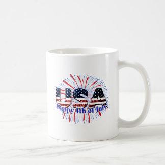 USA text flag glitters fireworks Happy 4th of July Coffee Mug