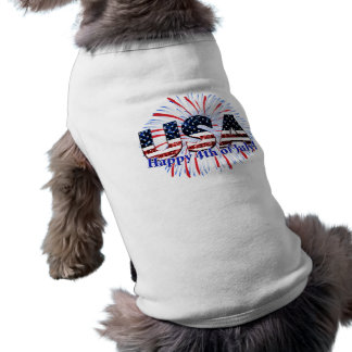 USA text flag glitters fireworks Happy 4th of July Sleeveless Dog Shirt