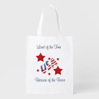 USA Thank You Veterans Land of Free Bc of Brave Reusable Grocery Bag