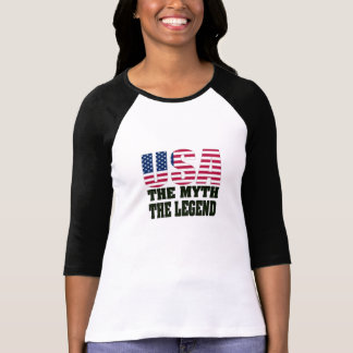USA The Myth The Legend Ladies Baseball T-Shirt