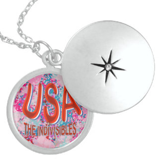 USA The Sterling Indivisibles Reds Wyt Pinks Blues Round Locket Necklace