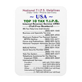 USA TOP 10 TAX T.I.P.S. Helplines Template Rectangular Photo Magnet
