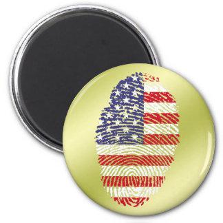 Usa touch fingerprint flag 6 cm round magnet