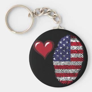 Usa touch fingerprint flag basic round button key ring