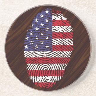 Usa touch fingerprint flag coaster