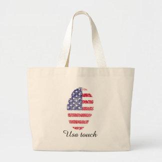 Usa touch fingerprint flag large tote bag