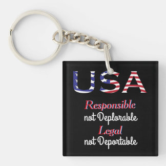 USA Trump Deplorable Double-Sided Square Acrylic Key Ring