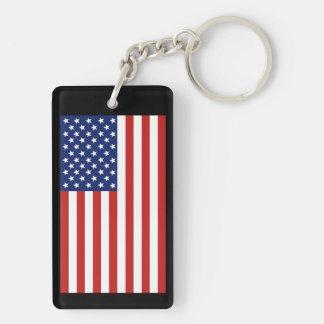 USA & UK Flags Double-Sided Rectangular Acrylic Key Ring