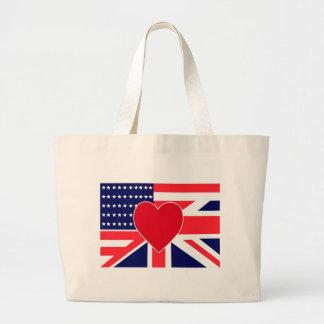 USA/UK Love Large Tote Bag