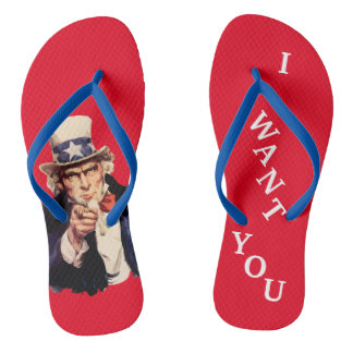 USA Uncle Sam Patriotic Flip Flops