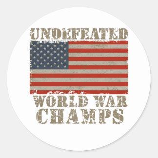 USA, Undefeated World War Champions Round Sticker