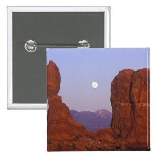 USA, Utah, Arches NP, Full Moon Rising at 15 Cm Square Badge