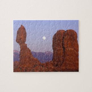 USA, Utah, Arches NP, Full Moon Rising at Jigsaw Puzzle