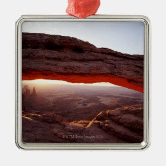 USA, Utah, Canyonlands National Park, sunrise Silver-Colored Square Decoration