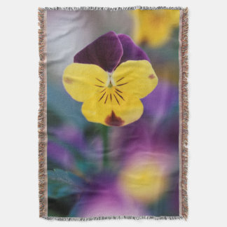 USA, Utah, Close-Up of Viola tricolor in garden Throw Blanket