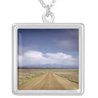 USA, Utah, Dirt road crossing landscape Silver Plated Necklace