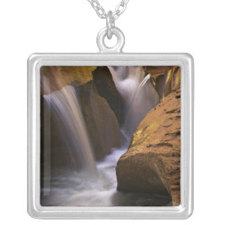 USA, Utah, Escalante Wilderness. Waterfall in 2 Silver Plated Necklace