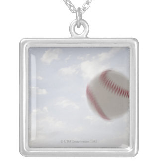 USA, Utah, Lehi, Baseball against sky Silver Plated Necklace