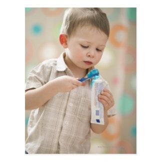 USA, Utah, Lehi, boy (2-3) brushing teeth Postcard