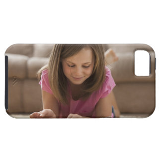 USA, Utah, Lehi, Girl (10-11) lying on rug, iPhone 5 Case