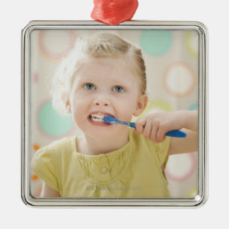 USA, Utah, Lehi, girl (2-3) brushing teeth Christmas Ornament