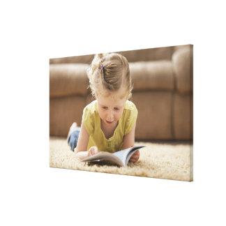 USA, Utah, Lehi, Girl (2-3) lying on rug, Canvas Print