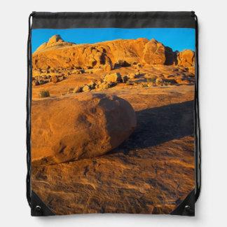 USA, Utah, Moab, Sandstone Drawstring Backpacks