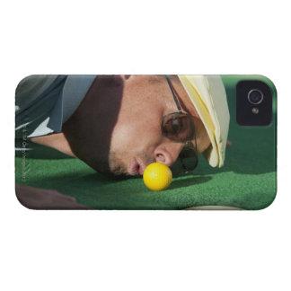 USA, Utah, Orem, Man blowing air to push golf iPhone 4 Case-Mate Cases