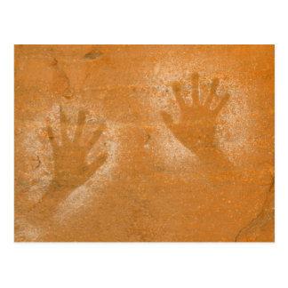 USA, Utah, Pictograph Hand-prints on sandstone, Postcard