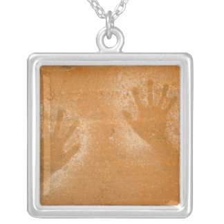 USA, Utah, Pictograph Hand-prints on sandstone, Silver Plated Necklace