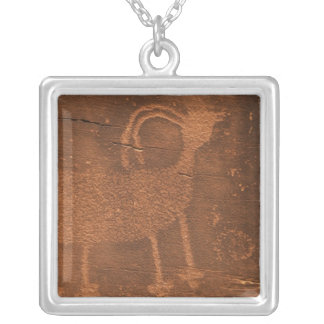USA, Utah. Prehistoric petroglyph rock art at 2 Silver Plated Necklace