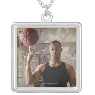 USA, Utah, Salt Lake City, Portrait of young man Square Pendant Necklace